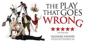 The Play That Goes Wrong - Official artwork for the West End production transfer to the Duchess Theatre