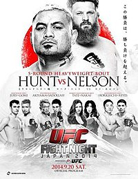 A poster or logo for UFC Fight Night: Hunt vs. Nelson.