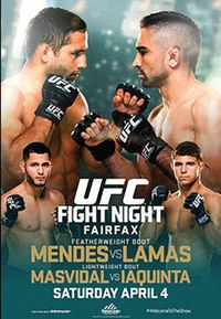 A poster or logo for UFC Fight Night: Mendes vs. Lamas.