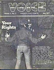 "Cover of the May 1977 issue of ""The Voice"""