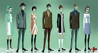 We Happy Few - Artwork of the game's NPCs, whose fashion and hairstyles, alongside the main characters of the game, reflect those from 1960's Britain