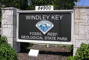 Windley Key - The sign at the front entrance to Windley Key Fossil Reef Geological State Park.