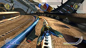 Wipeout HD - From left to right clockwise, the interface displays the number of laps, shield strength, position, speedometer, and lap time.