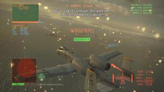 Ace Combat 6: Fires of Liberation - Gameplay during co-op mode. The player, center, is surrounded by the HUD in this camera view.