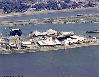 Expo 67 - The Expo 67 site on Notre Dame Island with the Canada, Quebec and Ontario pavilions in view