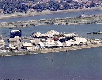 Aerial view Canada Pavilion to Quebec Pavilion Expo 67 - LAC e000990837