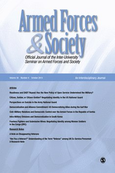 Image de couverture du journal Armed Forces and Society.
