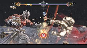 Asura's Wrath - The player is prompted during a fight to press the B button in order to increase and maintain their burst gauge, represented as the slowly filling red bar at the top of the screen (Xbox 360 version).