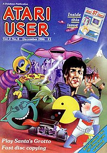 Cover of Atari User magazine from December 1986. This issue also contains the Atari ST User supplement (see top right).