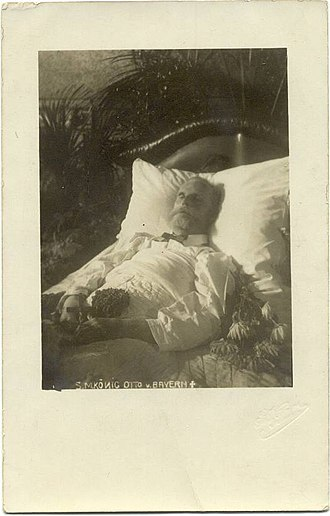 Otto of Bavaria - Postcard photograph from 1916 of King Otto's body in repose.