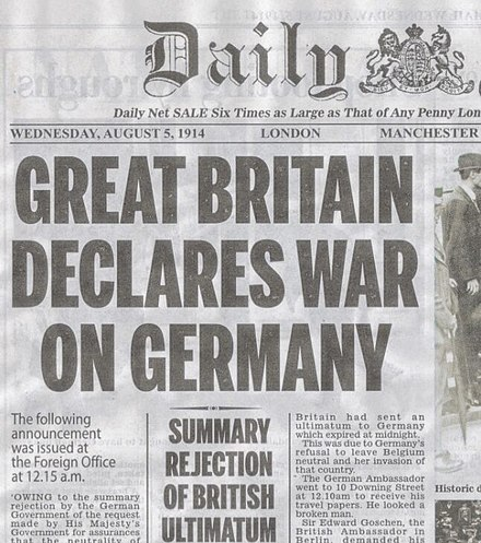 London Daily Mail on Aug 5 Britain declares war--Daily Mail Aug 5, 1914.jpg