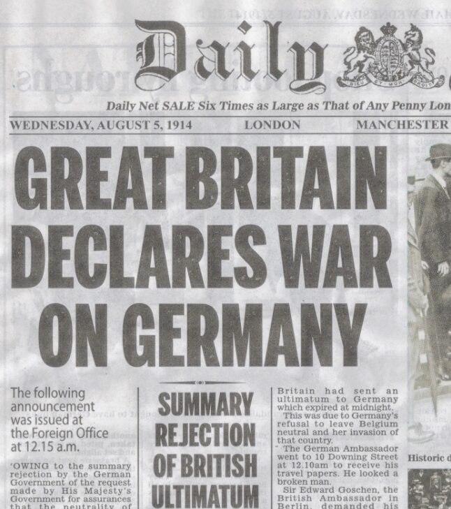 Britain declares war--Daily Mail Aug 5, 1914