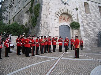 Cassino Band of Northumbria Army Cadet Force - The Cassino Band play outside the Abbey of Monte Cassino in 2006