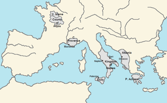 A map presenting Charles's realms: Anjou and Maine in the middle of present-day France; Provence in southeastern France; the Regno in southern Italy; Albania in present-day Albania and northeastern Greece; Achaea in southern Greece.