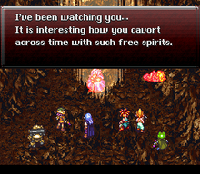 Horizontal rectangular video game screenshot that is a digital representation of a cave. Six characters stand at the bottom of the screen, with a dialog window at the top of the screen displays text.