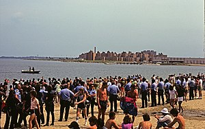 Columbia Point, Boston - Columbia Point housing from Carson Beach. The photo depicts a 1977 racial conflict between residents of Columbia Point and South Boston for the use of Carson Beach and the L Street bath house.