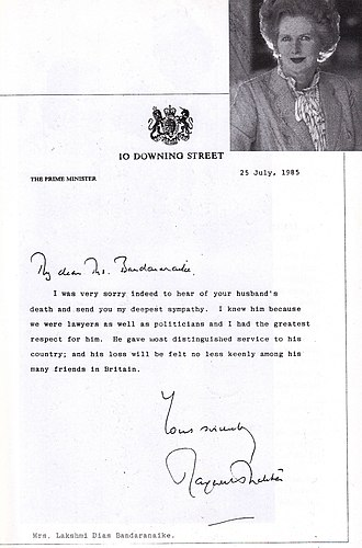 Felix Dias Bandaranaike - Condolence Message from Prime Minister of the United Kingdom  Margaret Thatcher