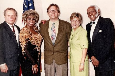 Dexter Lehtinen, Celia Cruz, Alonso R. del Portillo, Rep. Ros-Lehtinen, and Pedro Knight in May 1992 Cruz and Ros-Lehtinen1992a.jpg