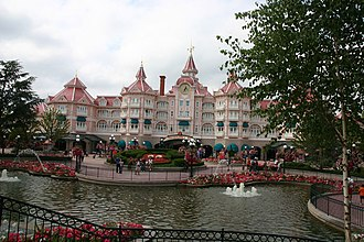 Disneyland Paris - 'Disneyland Hotel' in Disneyland Park, Paris, France. Through the hotel is the entrance ticket hall to the Park.