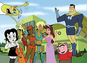 Drawn Together - The cast; counter-clockwise from upper left: Wooldoor, Toot, Ling-Ling, Foxxy, Xandir, Clara, Spanky, and Captain Hero.