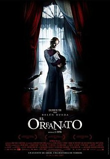 Film poster illustrating a woman cradling a baby covered in cloth in a dark room in front of a bright window. Five small hands are seen covering the window from the darkness. Text at the bottom of the poster reveals the original Spanish title, production credits and release date.
