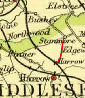 Belmont railway station (Harrow) - Image: Extract of 1900 Map showing L&NWR Stanmore branch