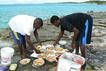 Preparing dinner from fresh caught fish.