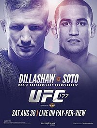 A poster or logo for UFC 177: Dillashaw vs. Soto.