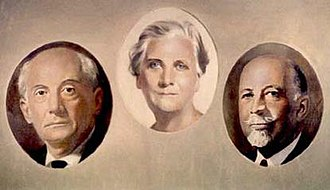 NAACP - Founders of the NAACP: Moorfield Storey, Mary White Ovington and W.E.B. Du Bois.