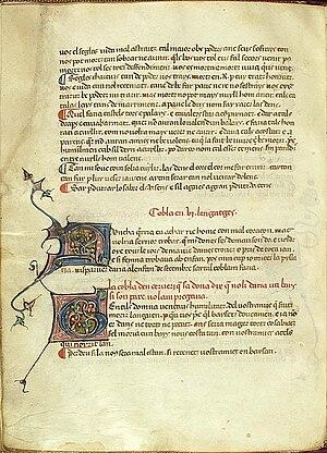 Tornada (Occitan literary term) - Image: Gentils domna, vença.us humilitatz