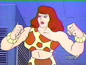 Giganta - Giganta flexes her muscles in this shot from Hanna-Barbera's 1970s cartoon series Challenge of the Super Friends.