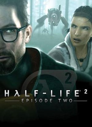 Half-Life 2: Episode Two - Promotional artwork featuring (from left): Gordon Freeman, the Combine Hunters, and Alyx Vance