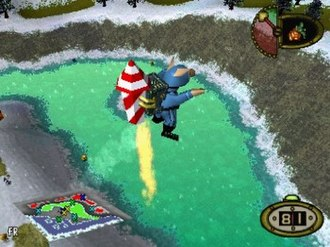 Hogs of War - Hogs can use a variety of items, such as the rocket jet pack.