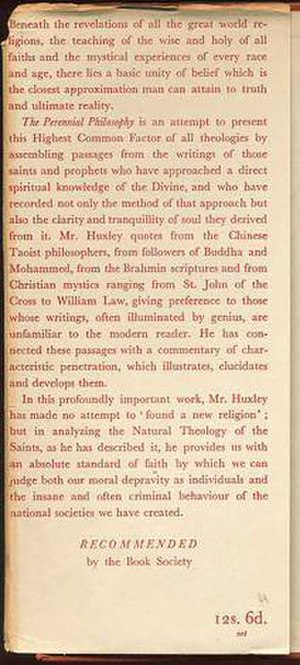 The Perennial Philosophy - Publisher's jacket blurb for the first United Kingdom edition