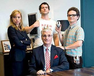 The IT Crowd - The main cast of the German version (left to right, from top) Jen, Roy, Moss and Denholm (bottom)