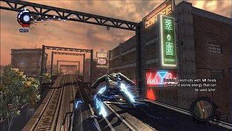 Infamous (video game) - The player can use Cole to extract electricity from nearby power sources for later use.