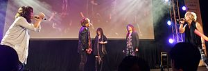 JAM Project at the 7th annual J-Pop Summit in San Francisco, California. Left to right - Fukuyama, Kageyama, Okui, Kitadani, Endoh.jpg
