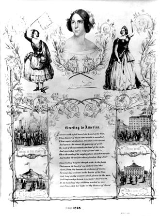 """Winter Garden Theatre (1850) - Poster of Jenny Lind's first engagement in New York, 1850, on which the hall is named """"Jenny Lind Hall"""", before its completion."""