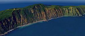 Kapiti Island - A 3D rendered view of the rarely seen far (western) side of Kāpiti Island