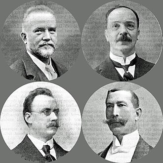 London Symphony Orchestra - Clockwise from top left: Adolf Borsdorf, Thomas Busby, John Solomon and Henri van der Meerschen, founding fathers of the LSO