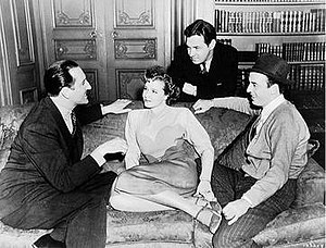 Charles Lederer - Lederer (far right) directing Fingers at the Window (1942), with Basil Rathbone and Laraine Day, and cameraman Harry Stradling standing