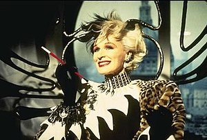 Cruella de Vil - In Disney's 1996 live-action remake of the animated film, 101 Dalmatians, and its 2000 sequel, 102 Dalmatians, Cruella DeVil was played by Glenn Close.