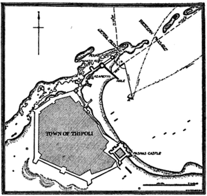 USS Philadelphia (1799) - Image: Map of Tripoli Harbor 1904
