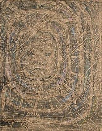 Helmi Juvonen - Mark Tobey's Eskimo Mask, by Helmi Juvonen, linocut with added color, 1954.