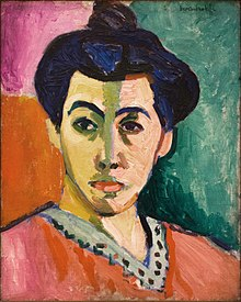 Henri Matisse painting, Portrait of Madame Matisse (The Green Stripe), from 1906, in the Statens Museum for Kunst