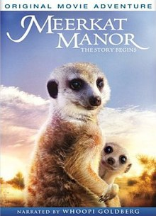DVD cover with the film title at a white scripted font at the top, followed in the center by an image of an adult female meerkat sitting upright and a young meerkat peeking out from around her chest with its head and neck visible and one paw draped over the female's paw. At the bottom a blue banner notes the film is narrated by Whoopi Goldberg.