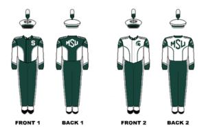 Michigan State University Spartan Marching Band - Image: Michigan State Marching Band Uniforms