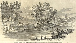 Newport Barracks - Army at Licking River, from Harpers