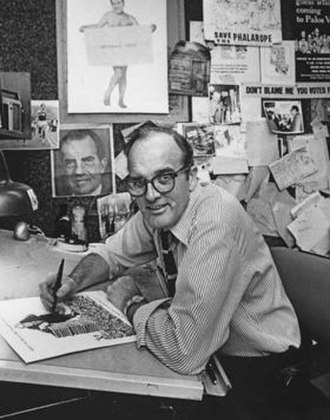 Paul Conrad - Paul Conrad sitting at his desk, circa 1973–1977
