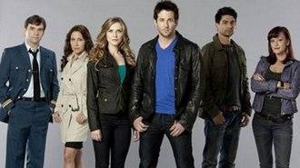 Primeval: New World - Cast L-R: Geoff Gustafson, Miranda Frigon, Sara Canning, Niall Matter, Danny Rahim, Crystal Lowe